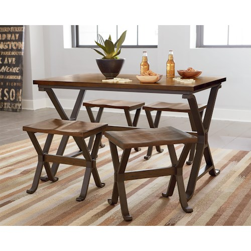 Standard Furniture Reynolds Rustic Dining Set with Four Stools