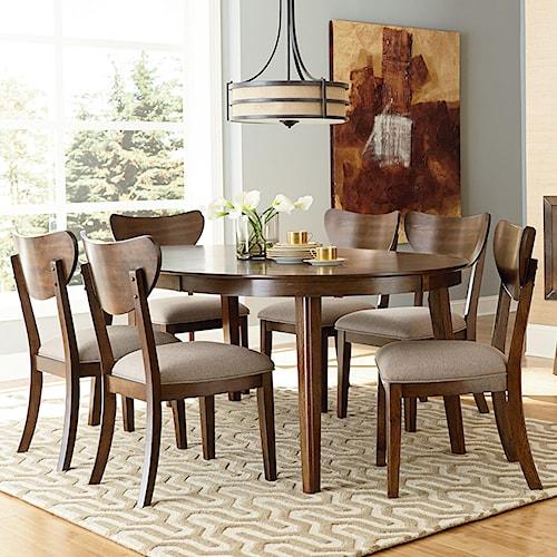 Standard Furniture Roxbury 7 Piece Mid-Century Modern Table & Chair Set with Splayed Legs
