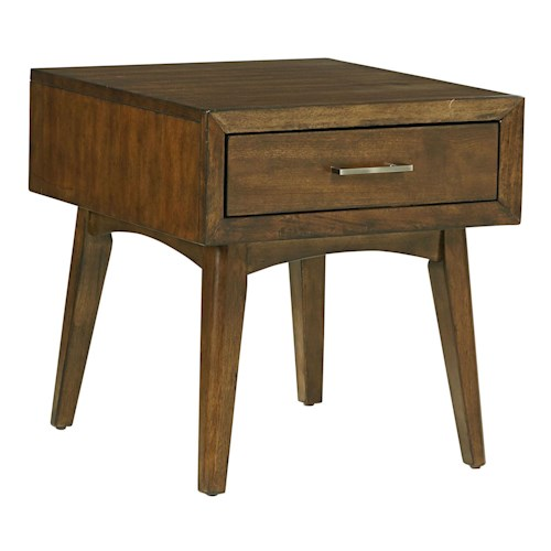 Standard Furniture Roxbury Mid-Century Modern 1 Drawer End Table with Splayed Legs