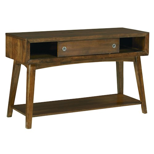 Standard Furniture Roxbury Mid-Century Modern Sliding Door Console Table with Splayed Legs