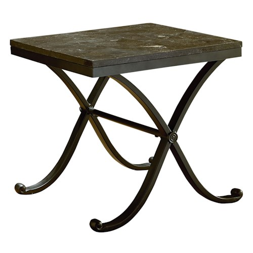 Standard Furniture Santiago Metal End Table with Stone Top
