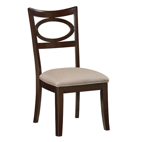 Standard Furniture Serenity Dining Side Chair with Oval Back Accent and Flared Legs