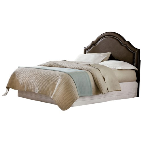 Standard Furniture Simplicity Cathedral Style Bonded Leather Full Headboard with Tack Head Trim