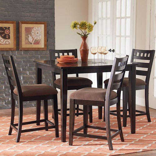 Standard Furniture Sparkle 5-Piece Gathering Table Set with 4 Upholstered Counter Height Chairs