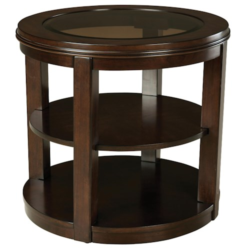 Standard Furniture Spencer Round Glass Top End Table with 2 Shelves
