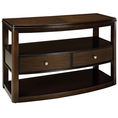 Standard Furniture Spencer Bowfront Sofa Table with 2 Drawers & 2 Shelves