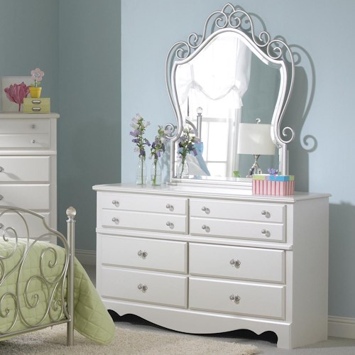 Standard Furniture Spring Rose 6 Drawer Dresser with Metal Mirror Combination