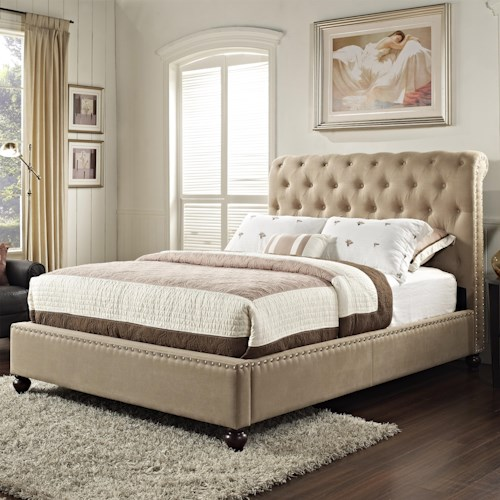 Standard Furniture Stanton Upholstered Queen Bed with Rolled and Tufted Headboard
