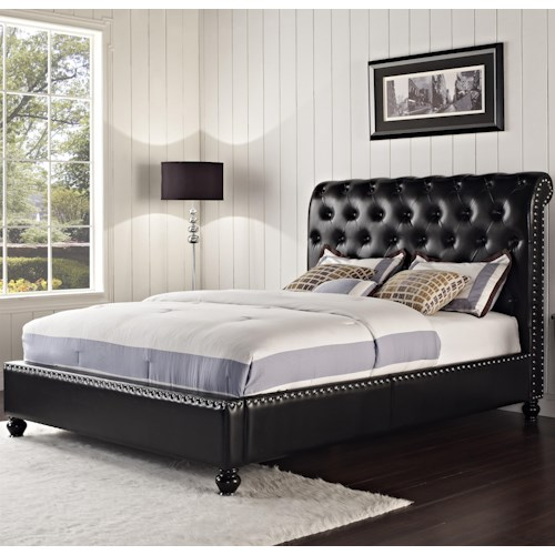 Standard Furniture Stanton Upholstered King Bed with Rolled and Tufted Headboard