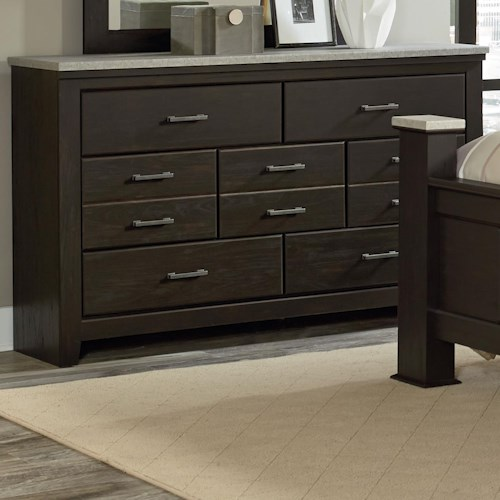Vendor 855 Stonehill Dark 7 Drawer Dresser with Concrete Top