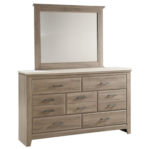 Standard Furniture Stonehill 7 Drawer Dresser and Framed Landscape Mirror