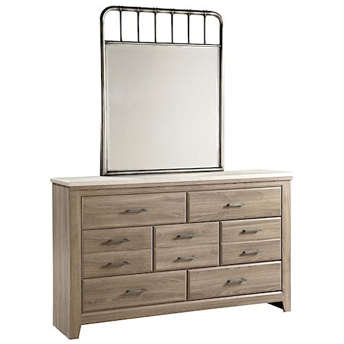 Standard Furniture Stonehill 7 Drawer Dresser and Metal Framed Mirror