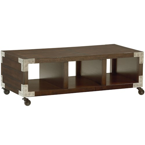 Standard Furniture Sullivan Cocktail Table with 3 Compartments and Casters