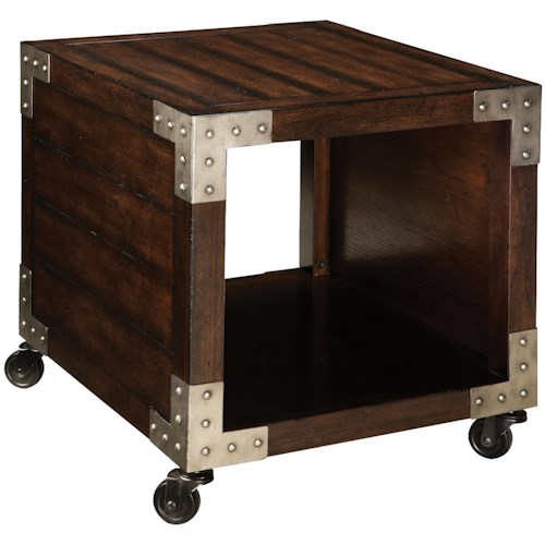 Vendor 855 Sullivan End Table with 1 Compartment and Metal Accents