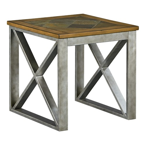 Standard Furniture Tessoro End Table with Metal Base and Wood Top