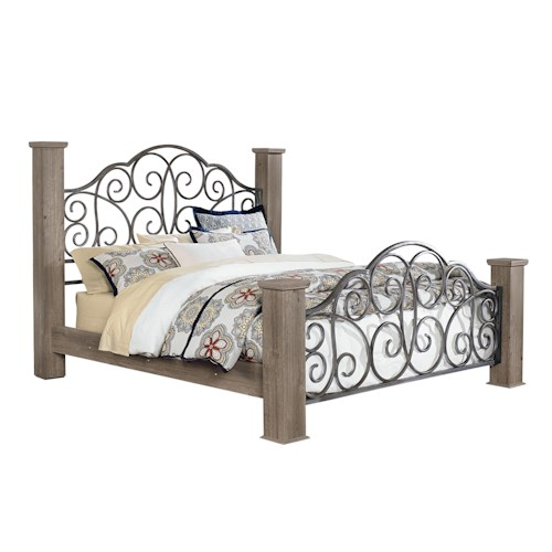 Standard Furniture Timber Creek Queen Bed with Scrolled Metal Panels