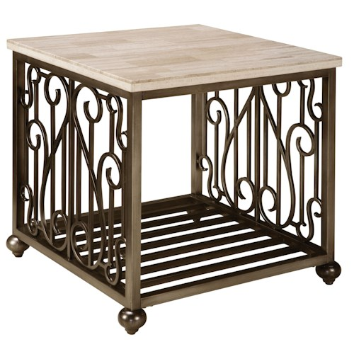 Standard Furniture Toscana  Contemporary Square End Table with Metal Base