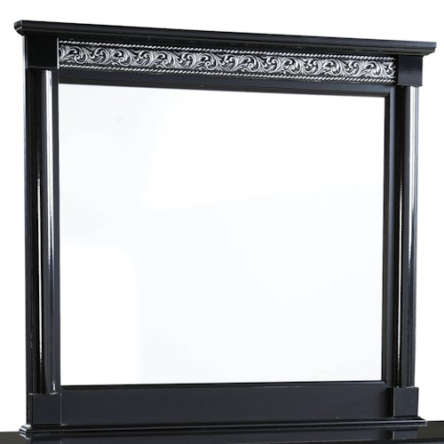 Standard Furniture Venetian Square Dresser Mirror with Molding and Split Columns