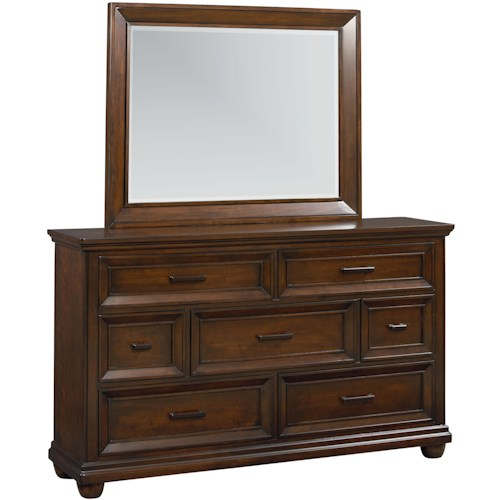 Vendor 855 Vineyard Dresser with 7 Drawers & Landscape Mirror Combo