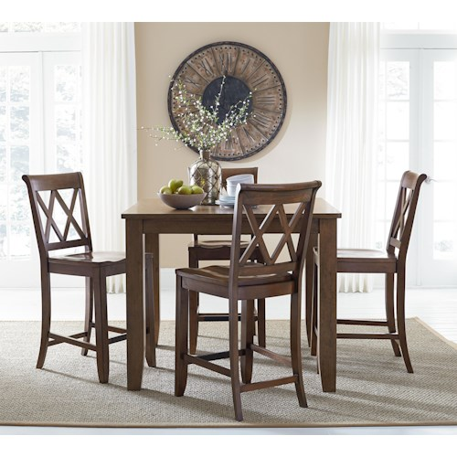 Standard Furniture Vintage Counter Height Dining Set with Four Chairs