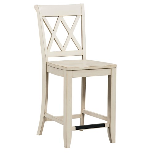 Standard Furniture Vintage Vanilla Counter Height Stool with X-Back