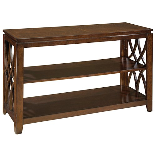 Standard Furniture Woodmont Rectangular Sofa Table with 3 Shelves & Scroll Sides