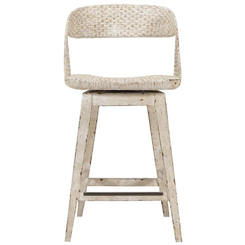 Stanley Furniture Archipelago Tambu Counter Stool with Woven Material Back and Swivel Seat