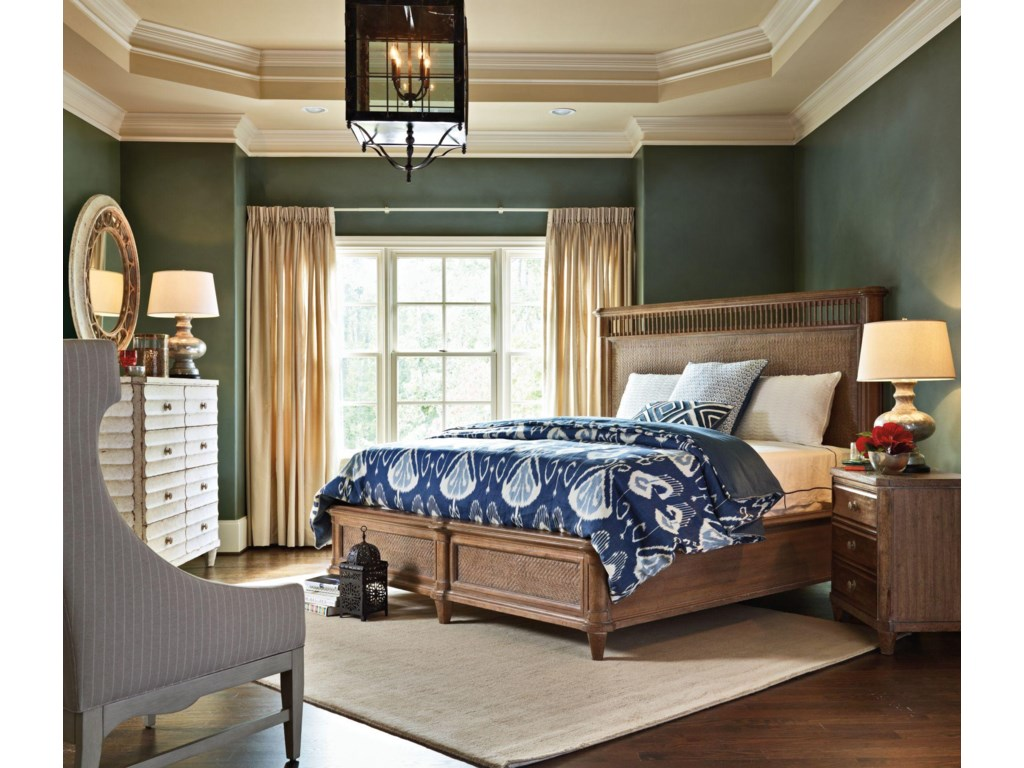 Shown with Moor Island Ring Mirror, Nevis Woven Bed, and Calypso Night Stand