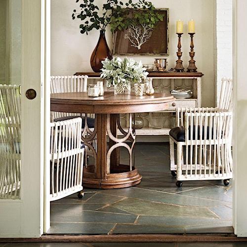 Stanley Furniture Archipelago 4-Piece Monserrat Round Pedestal Table Set with Castered Club Chairs