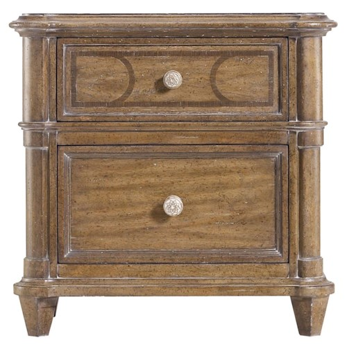 Stanley Furniture Archipelago Calypso Night Stand with Walnut Inlay and Electrical Outlet