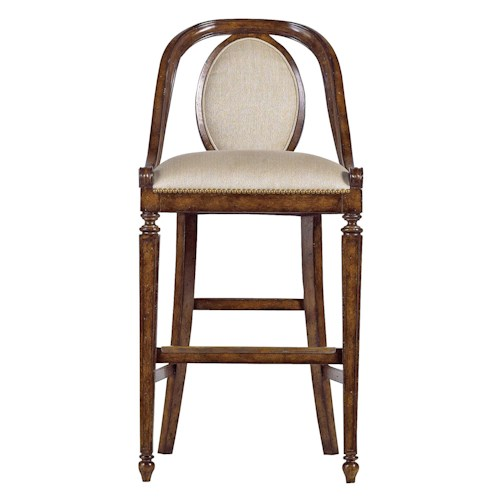Stanley Furniture Arrondissement Parc Bar Stool with Oval Back and Chevron Fabric Upholstery