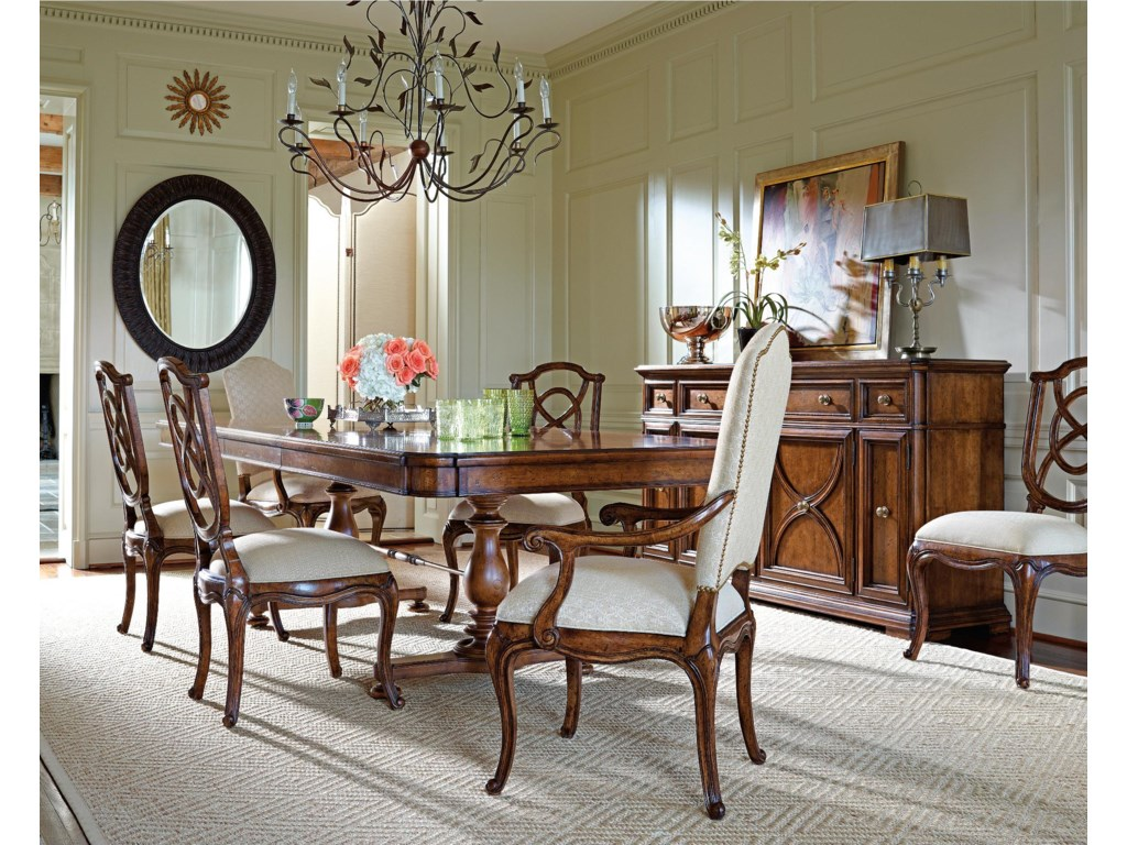 Arm Chairs Shown with Famille Pedestal Table, Tuileries Side Chairs, Jardin Mirror, and Grand Rue Buffet