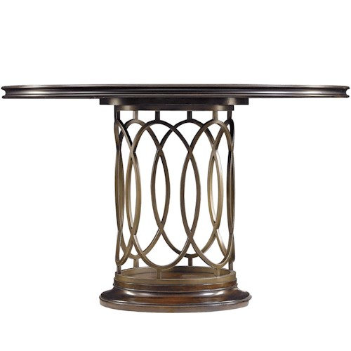 Stanley Furniture Avalon Heights Neo Deco Metal Oval Pedestal Dining Table