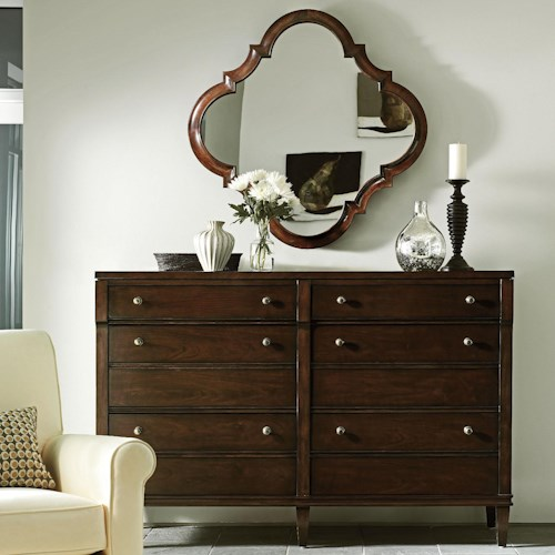 Stanley Furniture Avalon Heights 6 Drawer Resonance Moderne Dresser and Grand Cinema Decorative Mirror Set