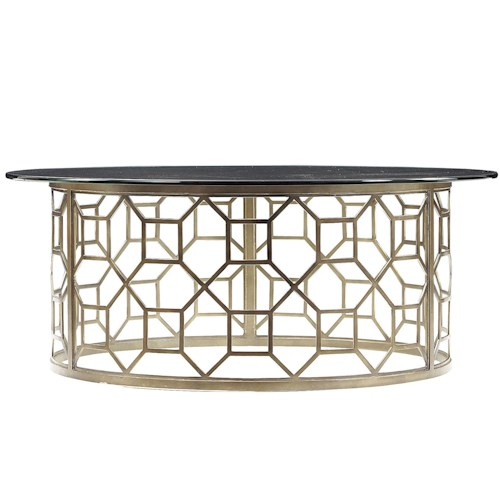 Stanley Furniture Avalon Heights Roxy Round Glass Cocktail Table with Metal Octagon Pedestal Base