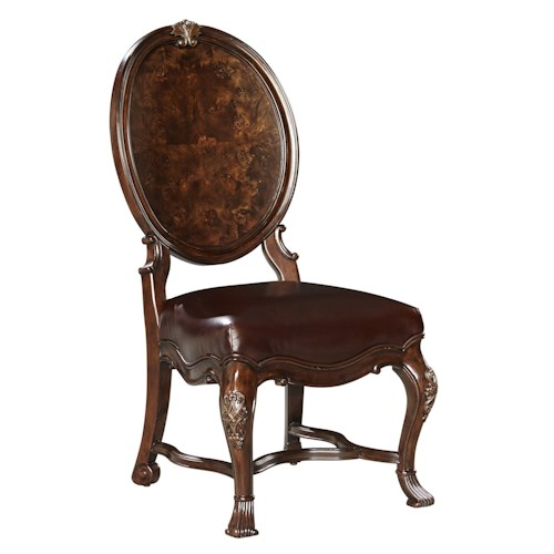 Stanley Furniture Casa D'Onore Wood Side Chair with Oval Back with Mappa Burl