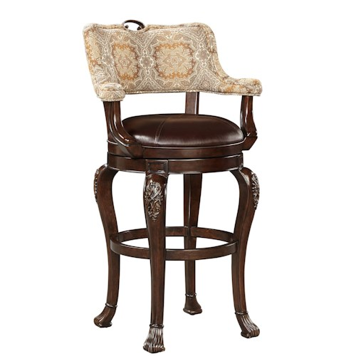 Stanley Furniture Casa D'Onore Traditional Swivel Bar Stool with Upholstered Arms