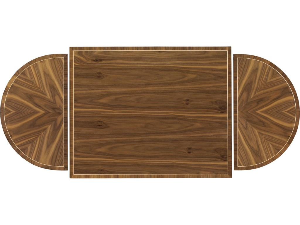 Radiating Walnut Veneer Top, Shows Where End Tables Separate from Center