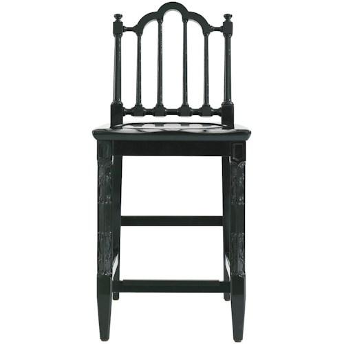 Stanley Furniture Charleston Regency Chippendale Counter Stool with Garland Carved Detail