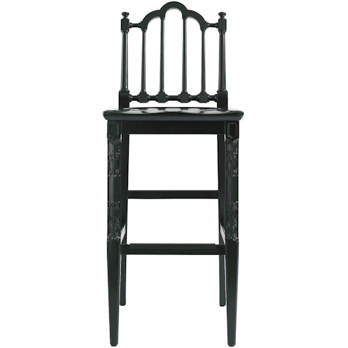 Stanley Furniture Charleston Regency Chippendale Bar Stool with Turned Back Slat