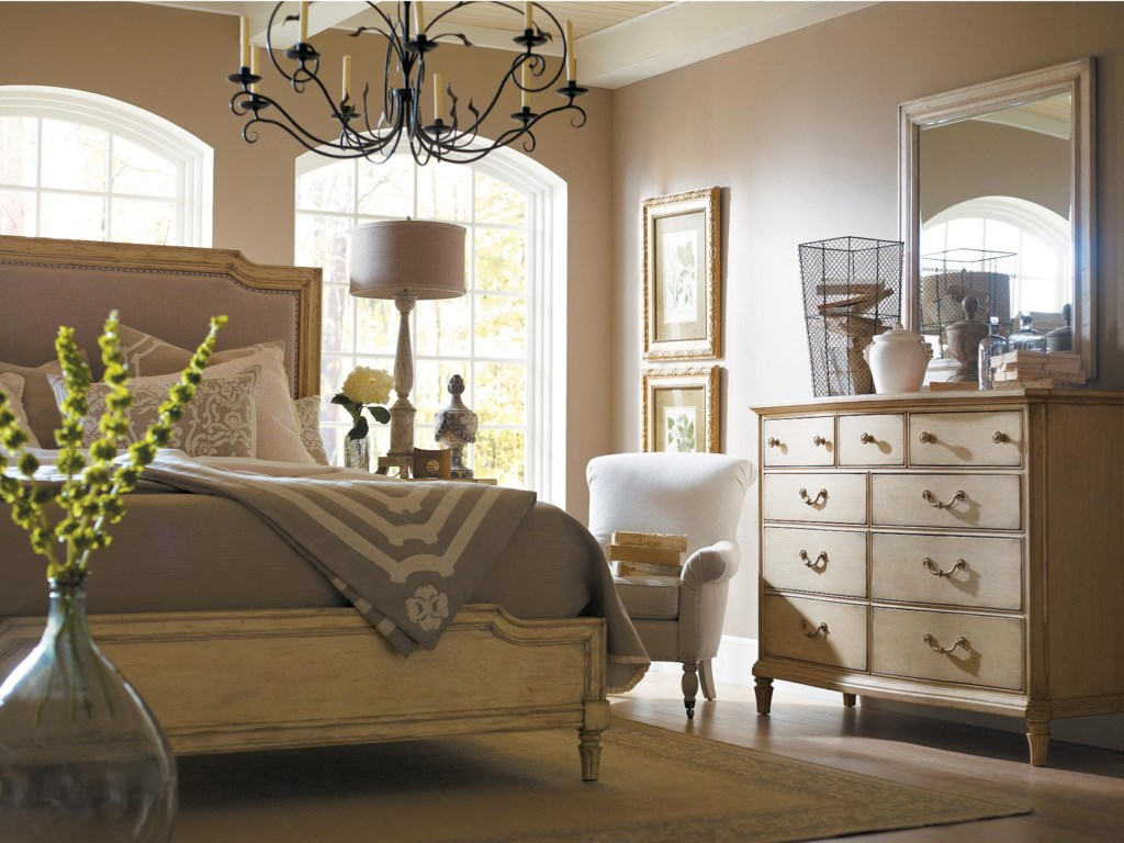 Shown with Upholstered Bed and Landscape Mirror