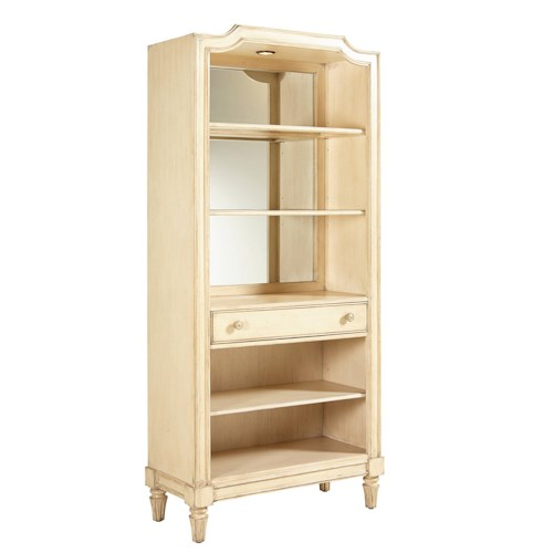 Stanley Furniture European Cottage Open Bookcase with Mirror Back and Adjustable Shelves