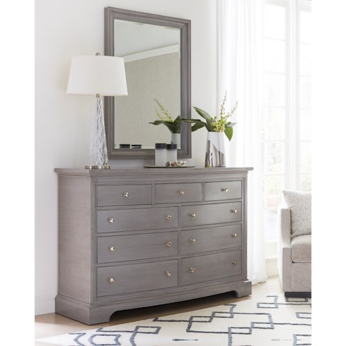 Stanley Furniture Transitional Nine Drawer Dresser and Mirror Combination