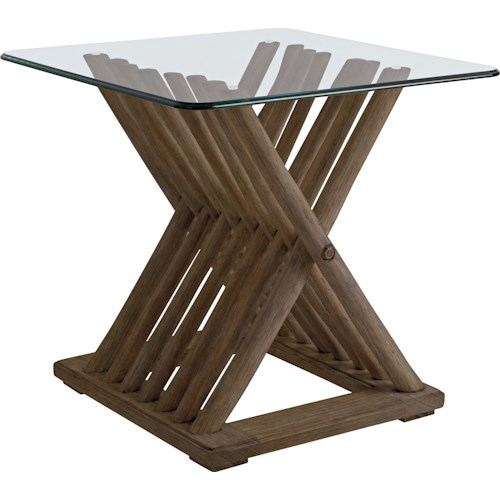 Stanley Furniture Coastal Living Resort Driftwood Flats End Table with Glass Top
