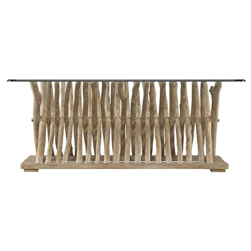 Stanley Furniture Coastal Living Resort Driftwood Flats Cocktail Table with Glass Top