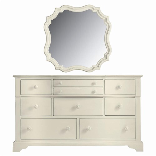 Stanley Furniture Coastal Living Cottage 9 Drawer Getaway Dresser and Piecrust Mirror Combination