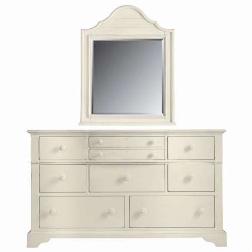 Stanley Furniture Coastal Living Cottage 9 Drawer Getaway Dresser and Top Arch Mirror Combination
