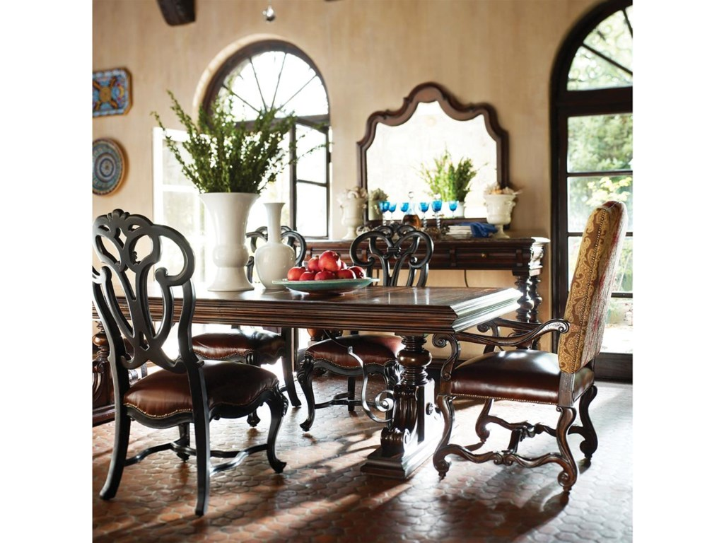 Shown with Black Scroll Back Side Chairs and Trestle Table