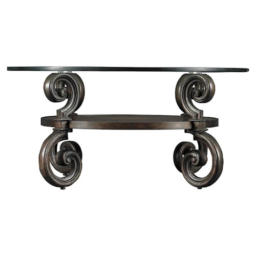 Stanley Furniture Costa del Sol Round Galileo Celestini Cocktail Table with Glass Top