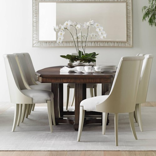 Stanley Furniture Crestaire 9-Piece Lola Double Pedestal Table Set